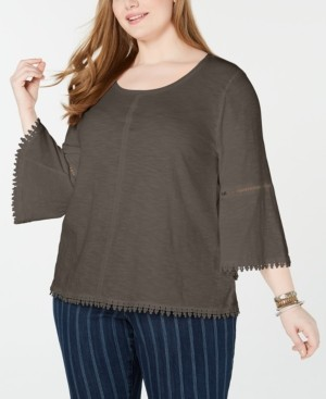 Style&Co. Style & Co Plus Size Crochet-Trim Bell-Sleeve Top, Created for Macy's