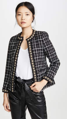 Alice + Olivia Carmen Embellished Strong Shoulder Fitted Blazer
