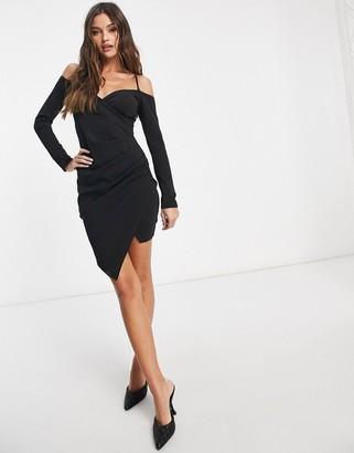 I SAW IT FIRST metal strap bardot wrap mini dress in black
