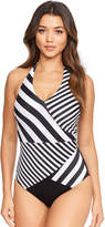 Figleaves Monochrome Stripe Underwired Tummy Control Swimsuit