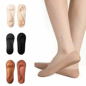 Hellx 3 Pairs Arch Support 3D Socks Shoe Socks Women No Show Non Slip