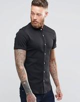 Asos Skinny Denim Shirt With Grandad Collar In Black