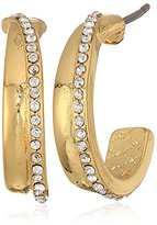 Laundry by Shelli Segal C Pave Gold Hoop Earrings
