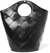 Elizabeth and James Market Basketweave Leather Tote - Black
