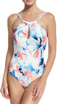 Vince Camuto High-Neck Maillot One-Piece Swimsuit, White Pattern