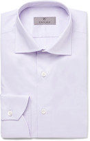 Canali Lilac Slim-Fit Spread-Collar Cotton Shirt