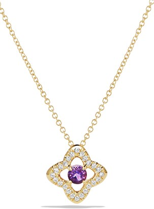 David Yurman 'Venetian Quatrefoil' Necklace with Diamonds in 18K Gold