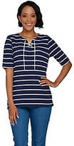 Denim & Co. Rope Stripe Elbow Sleeve Lace UpNeck Top
