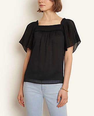 Ann Taylor Petite Pleated Square Neck Top