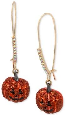 Betsey Johnson Gold-Tone Pave Jack-o-Lantern Linear Drop Earrings