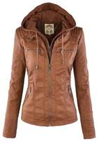 Sun Lorence Women's Casual Fashion Coat Removable Hooded Leather Jackets S