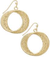 Thalia Sodi Gold-Tone Textured Multi-Row Drop Hoop Earrings, Only at Macy's