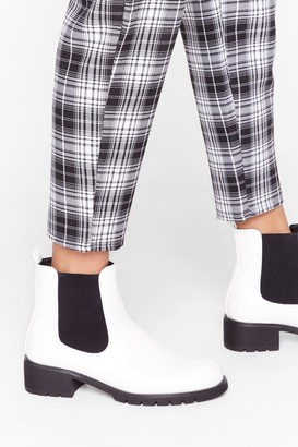 Nasty Gal Womens Step on It Faux Leather Cleated Boots - White - 3