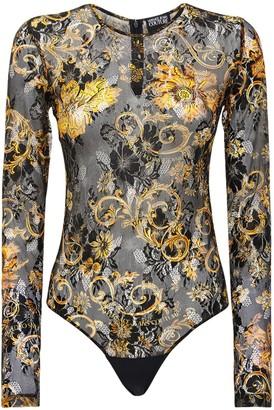 Versace Printed Mesh & Lace Bodysuit
