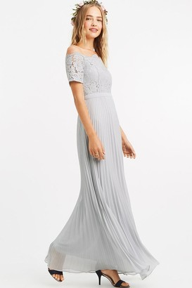 Oasis Pale Grey Lace Bardot Maxi Dress