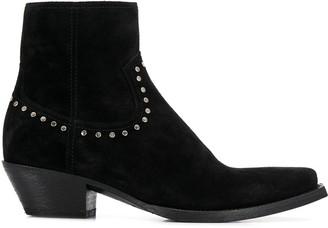 Saint Laurent Stud Detail Ankle Boots
