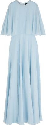 Jenny Packham Cape-effect Crystal-embellished Silk-chiffon Gown
