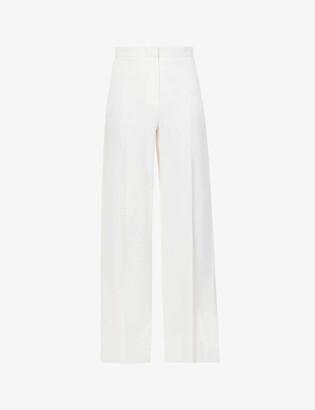 Max Mara Macario wide-leg high-rise stretch-wool trousers