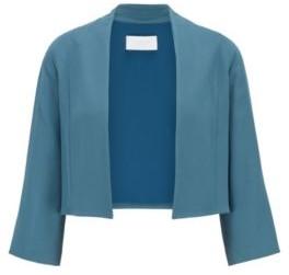 HUGO BOSS Collarless Regular Fit Jacket In Satin Back Crepe - Dark Blue