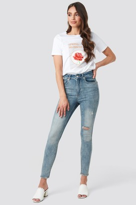 NA-KD Skinny High Waist Worn Look Jeans Blue