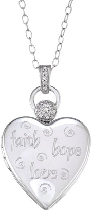 "Unbranded Sterling Silver Diamond Accent ""Faith, Hope, Love"" Heart Pendant Necklace"
