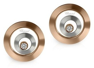 Chopard Happy Spirit Diamond, 18K Rose & White Gold Double Round Earrings
