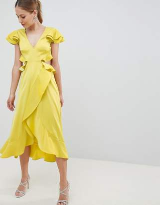 Asos Design DESIGN Ruffle Midi Dress In Rippled Satin With Cut Out Back-Yellow