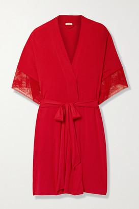 Eberjey Raquel Heartbreaker Lace-trimmed Stretch-modal Robe - Red