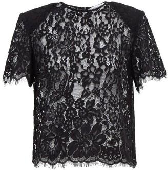 Self-Portrait Floral Corded-lace Top - Black