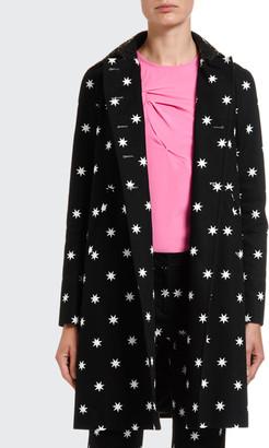 No.21 Star-Print A-Line Coat w/ Laser-Cut Collar