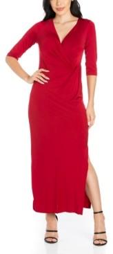 24seven Comfort Apparel Women's Fitted V-Neck Side Slit Maxi Dress