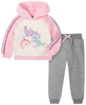 Kids Headquarters Toddler Girl 2-Piece Sleeve and Hood Dino Fleece Top with Fleece Pant Set