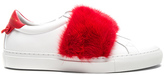 Givenchy Urban Street Elastic Strap Mink Low Sneaker in White,Red.