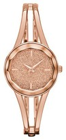 Merona Women's Bangle Watch with Glitter Dial and Faceted Crystal Rose Gold