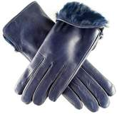Black Ladies Navy Blue Rabbit Fur Lined Leather Gloves