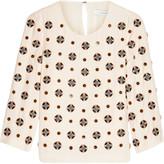 Diane von Furstenberg Luna embellished silk-blend crepe top