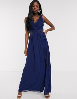 Little Mistress plunge pleat maxi dress with lace insert in navy