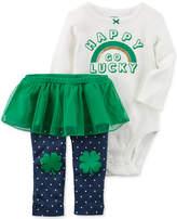 Carter's 2-Pc. Shamrock-Print Bodysuit & Tutu Leggings Set, Baby Girls