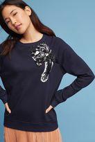 Anthropologie Panther Embellished Sweatshirt, Navy