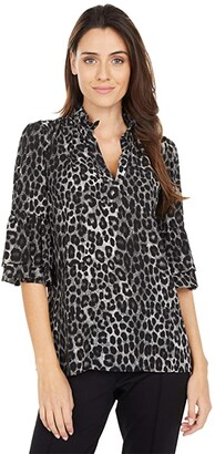 MICHAEL Michael Kors Mega Cheetah Ruffle Top (Gunmetal) Women's Clothing