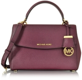 Michael Kors Ava Small Plum Saffiano Leather Satchel Bag