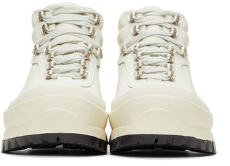 Jil Sander Off-White Leather Hiking Boots