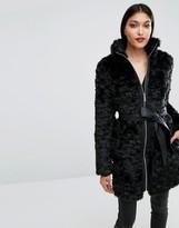Lipsy Faux Fur Belt Coat with Zip Front