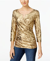 INC International Concepts Metallic-Print Surplice Top, Only at Macy's