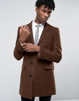 Original Penguin Formal Tobacco Melton Overcoat