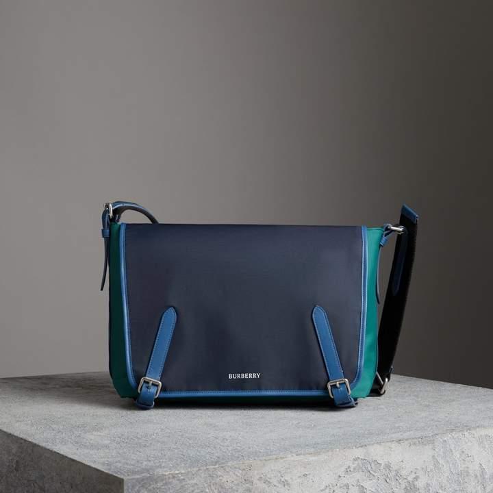 Burberry Large Tri-tone Nylon and Leather Messenger Bag, Black