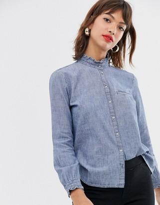 Esprit ruffle detail denim blouse in blue