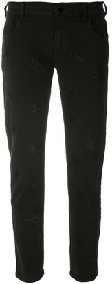 Emporio Armani Cropped Embroidered Jeans