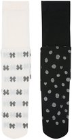 M&Co Bow and spot glitter print tights two pack