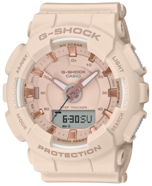 G-Shock Women's Analog-Digital Step Tracker Pink Resin Strap Watch 49.5mm